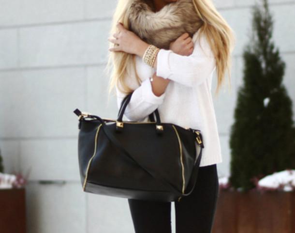 scarf fur scarf fur white sweater sweater pants black pants bag black bag bracelets