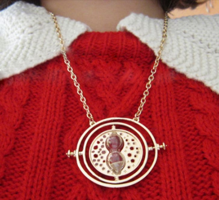 Fashion Harry Potter Time Turner Rotating Spins Gold Hourglass Necklace | eBay
