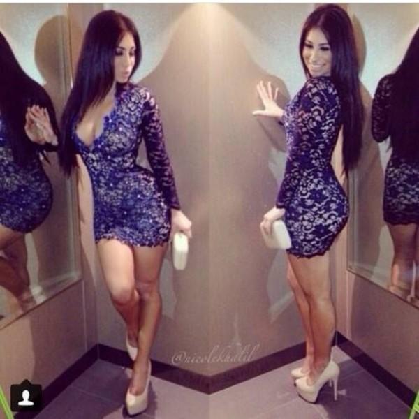 dress blue dress lace dress nude high heels blue navy lace bodycon glitter pearl flowers plunge neckline party dress