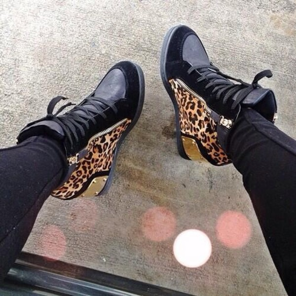 shoes giuseppe zanotti cheetah is the new black leopard print black gold high top sneakers sneakers black shoes daim leopard print