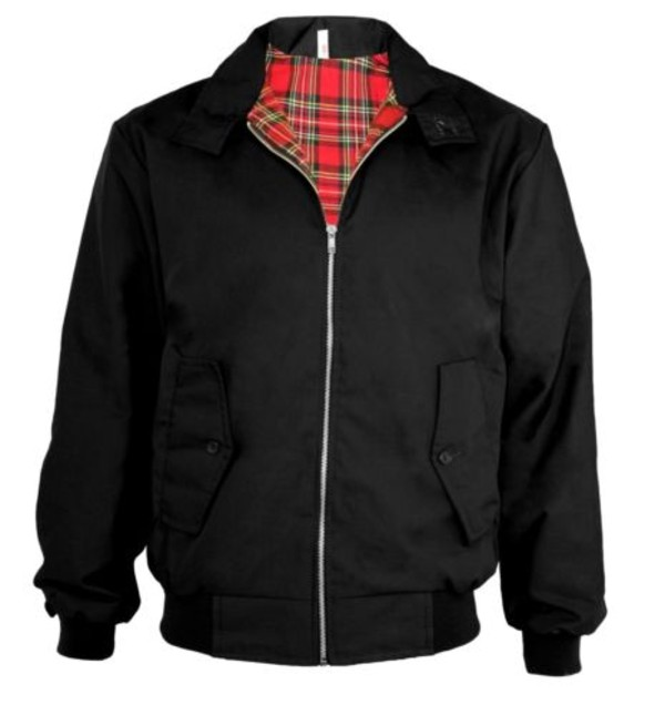 coat classic vintage trendy harrington bomber jacket jacket tartan black 1970s