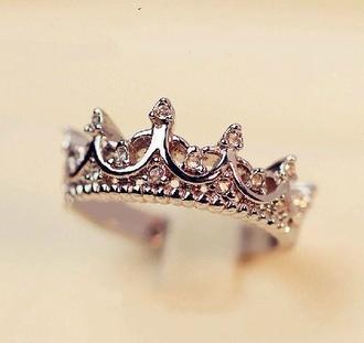 jewels tiara ring ring silver diamonds princess disney cute girly crown tumblr tumblr girl fashion pandora girl chick vogue engagement ring fashionista accessories fashion accessory