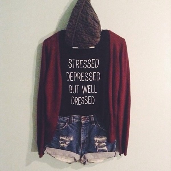 shirt shorts sweater jacket stressed beanie black singlet top cardie cardigan red stressed depressed but well dressed black and white style tumblr denim hat denim shorts