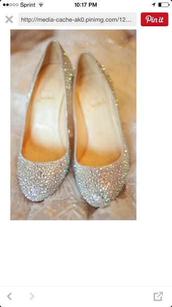 Shoes: silver, silver shoes, prom, quinceanera shoe, flats, quinceanera, prom shoes, rhinestones ...