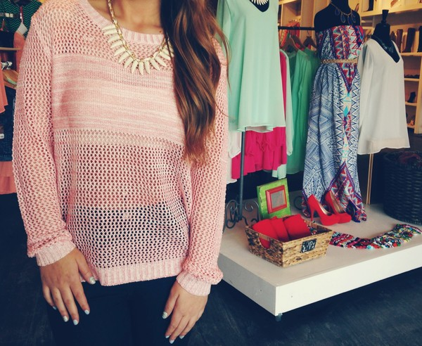 sweater pink knitted sweater dress shoes jewels