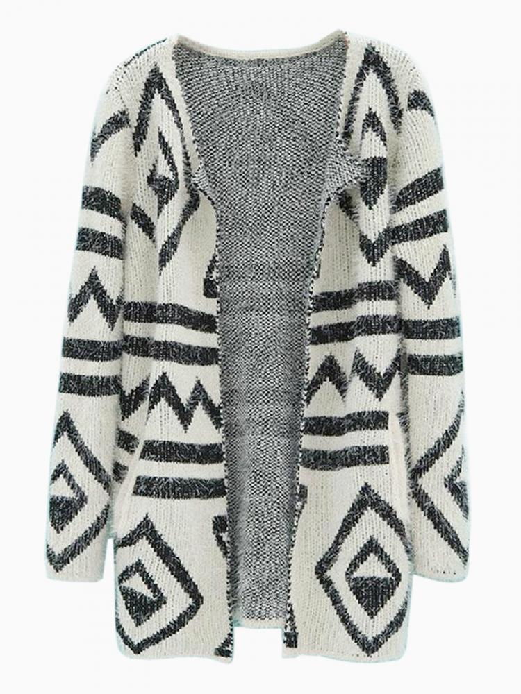 Mohair Cardigan With Geometric Pattern | Choies