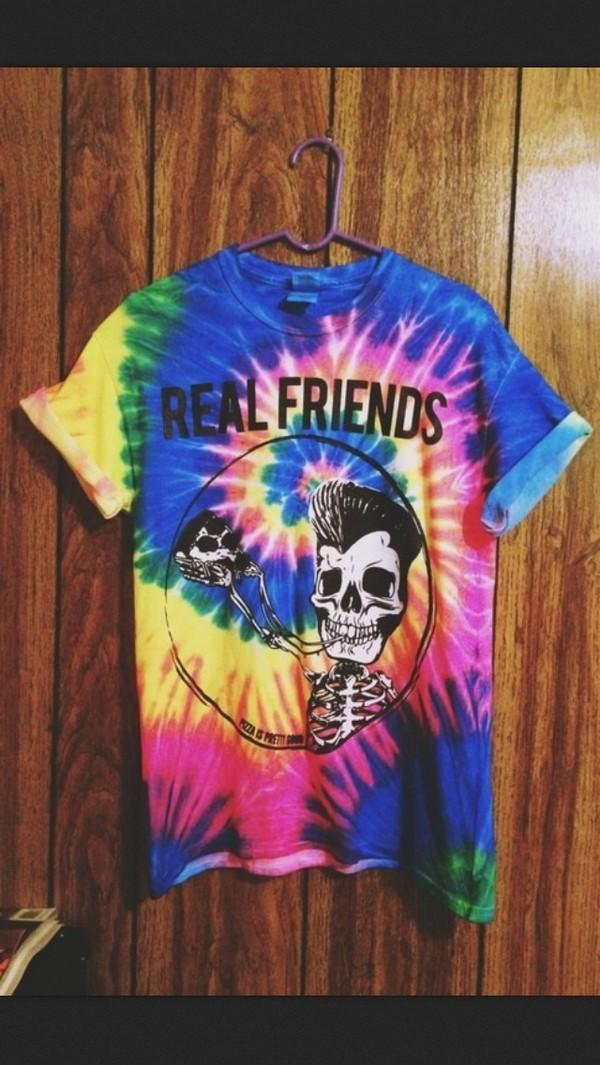 t-shirt tie dye skull skeleton fashion coachella coachella tie dye lenni