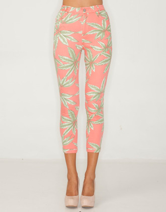 jeans pink tropical tropical jeans pink jeans printed leggings pants tumblr palm tree print high waisted exotic green