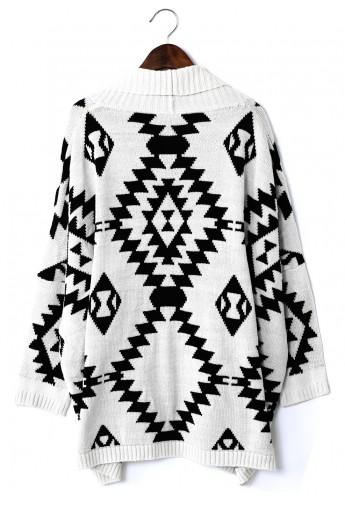 Aztec Open Knit Cardigan - Retro, Indie and Unique Fashion