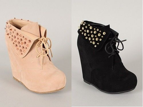 Select Color Suede Studded Spike Cuff Lace Up Wedge Ankle Boots Debrah 14   eBay