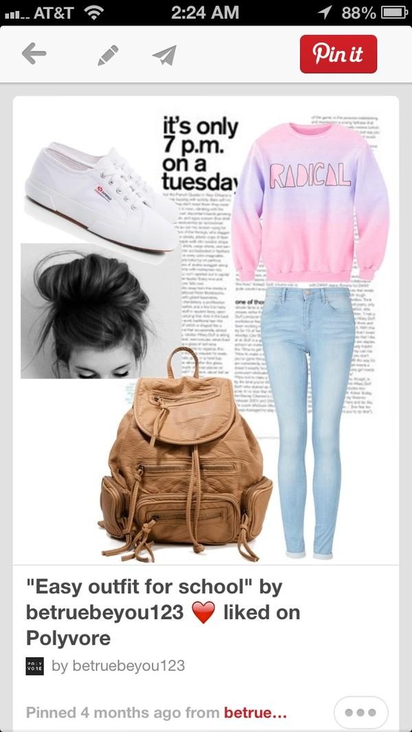 sweater pink purple radical rad ombre pastel bag jeans