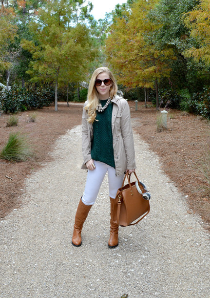 fash boulevard blogger coat forest green brown leather boots knitted sweater leather bag