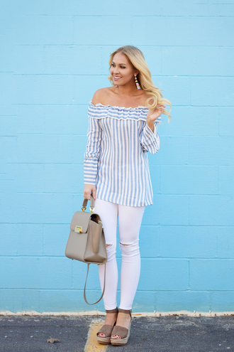 cortinsession blogger top dress jeans shoes bag jewels striped top off the shoulder top wedges