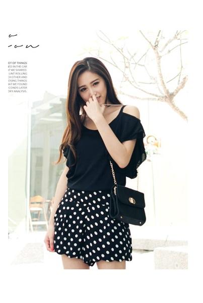 (TOBTM0141) Black Dotted Shorts, iAnyWear