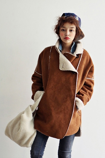 Pure Color Loose Wool Coat with Cutting Design [FEBK0542]- US$ 56.99 - PersunMall.com