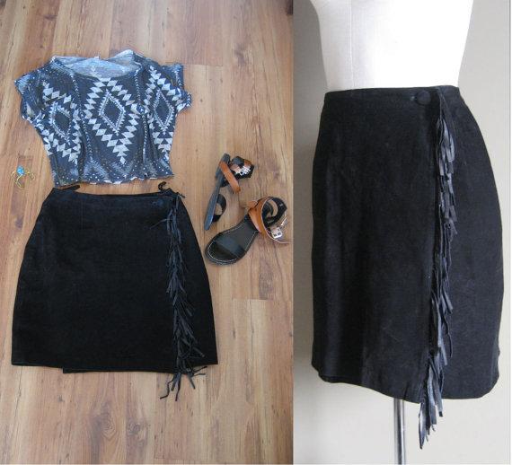 vintage 80s Leather Skirt / Leather Mini Skirt / by AliyaAndLucas