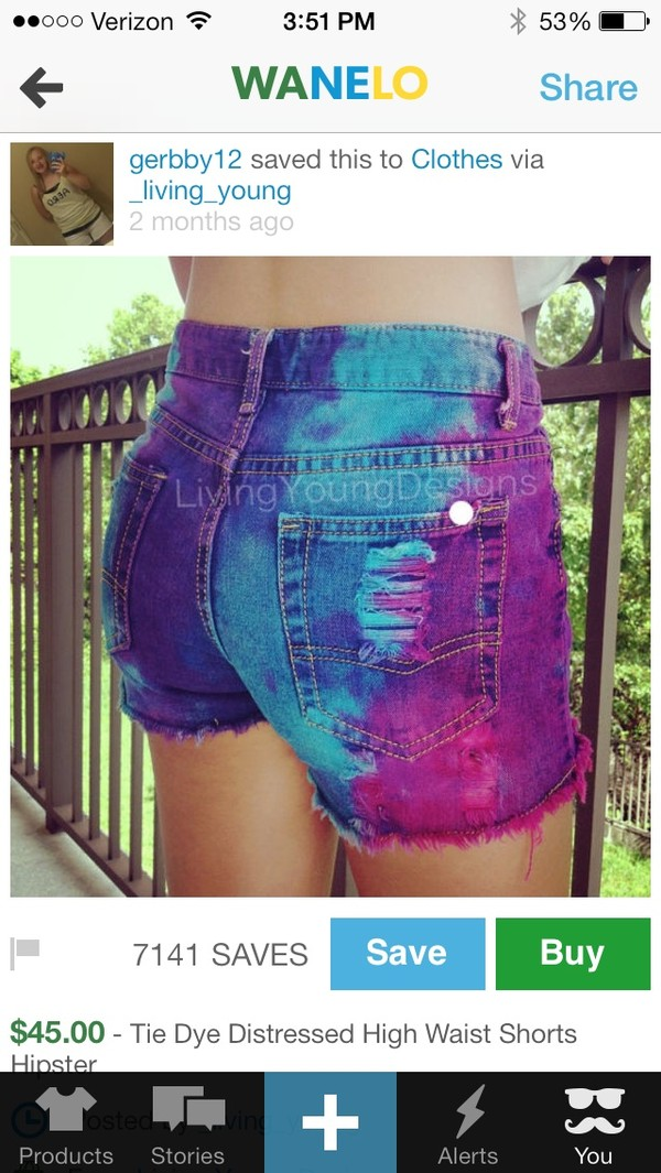 shorts pink purple navy neon holes dyed