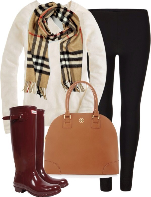 shirt sweater scarf hunter boots leggings purse jeans