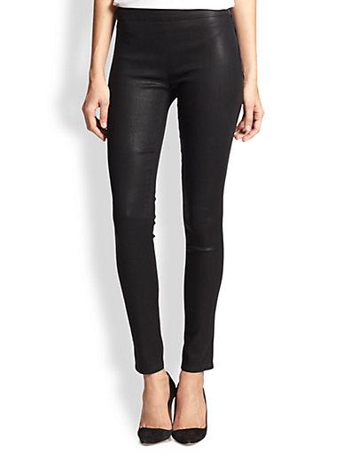J Brand - Side-Zip Stocking Leather-Effect Leggings - Saks.com