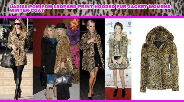 coat leopard print fur jacket fur hood trendy winter outfits celebrity faux fur jacket hair bow mary kate olsen ashley olsen olsen olivia palermo