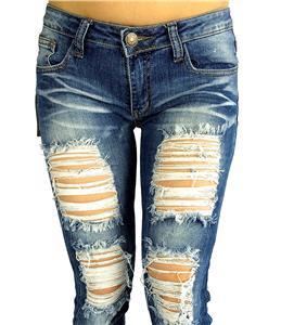 New Machine Jeans Destroyed Ripped Distressed Women Skinny Slim Blue Denim Jeans   eBay