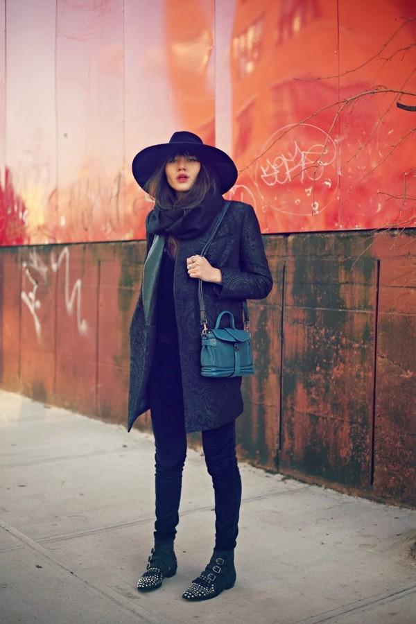 natalie off duty hat coat blouse shoes jewels