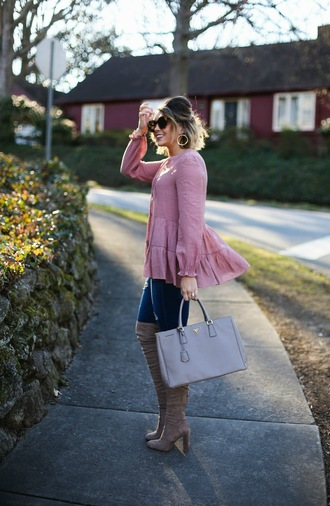 life & messy hair blogger jeans shoes bag jewels sunglasses pink blouse thigh high boots boots handbag