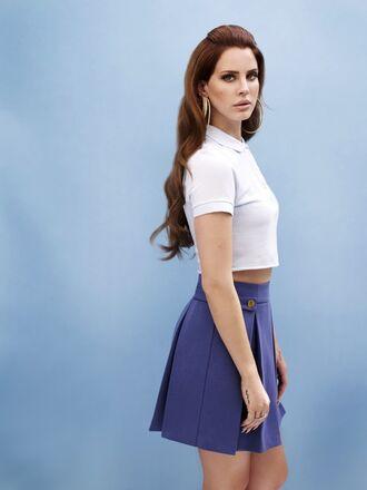 shirt skirt clothes crop tops buttoned shirt lana del rey blue skirt