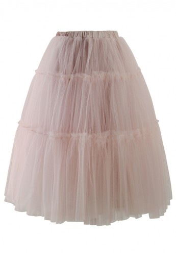 Amore Tulle Midi Skirt in Pink - Retro, Indie and Unique Fashion