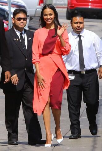 blouse top zoe saldana skirt pumps midi skirt asymmetrical