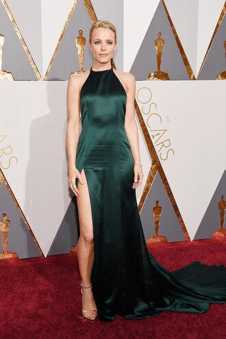 dress rachel mc adams oscars 2016 slit dress gown prom dress backless dress long prom dress sandals