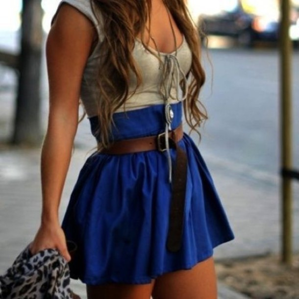 blue skirt shirt tank top clothes outfit cute skirt dress grey blue