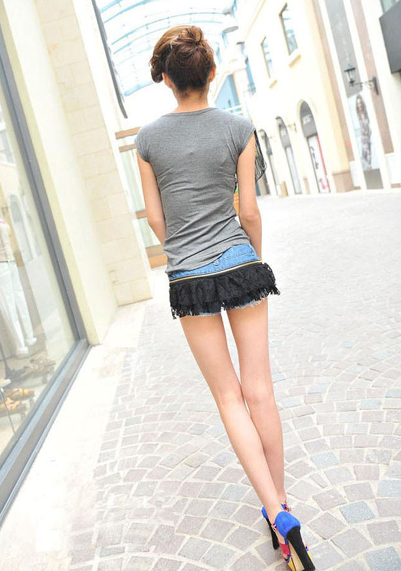 Womens Sexy Fashion Mini Jeans Denim Hot Shorts Special Removable Lace Design M | eBay