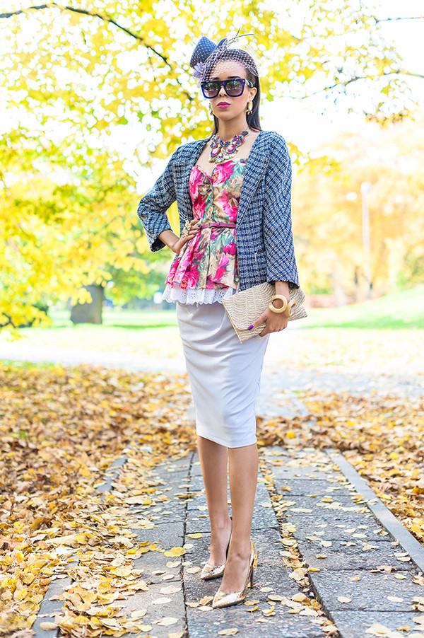 macademian girl jacket t-shirt skirt bag shoes sunglasses jewels