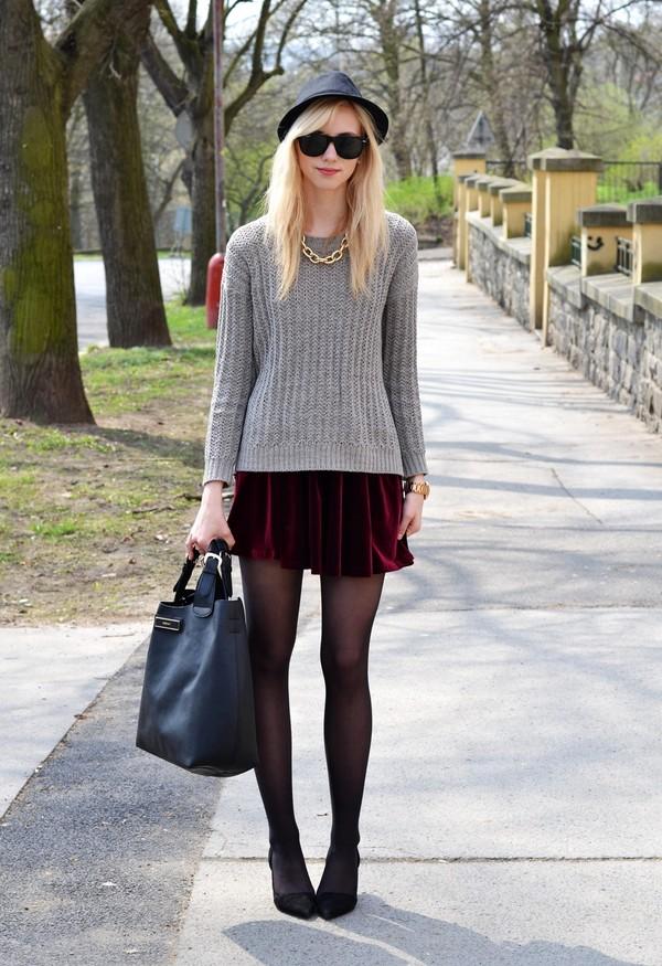vogue haus sweater skirt shoes bag hat sunglasses jewels