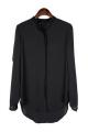 Contrast Black Standing Collar Chiffon Blouse - OASAP.com