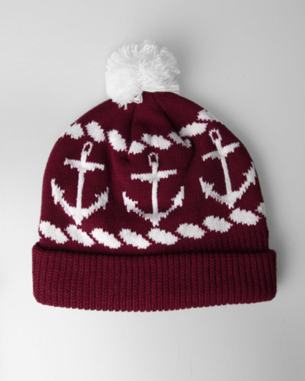 hat burgundy anchor burgundy white red anchor hat beanie anchors pom pom beanie maroon beanie cute burgundy white anchor winter hat anchor print red beanie red pom pom beanie red and white red and black holiday gift