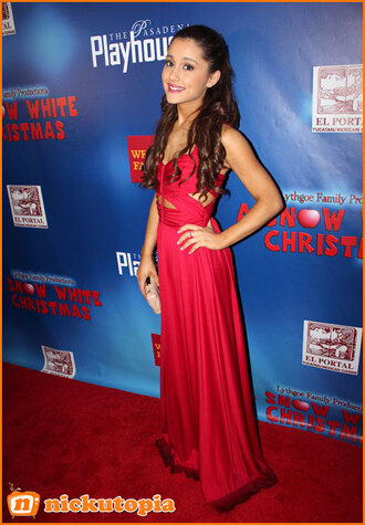 dress ariana grande a snow white christmas movie premiere red carpet red cut-out prom prom dress celebrity nickutopia victorious gown maxi dress sheath column petite red dress cut-out dress floor length cute red prom dress cute dress long prom dress celebrity style