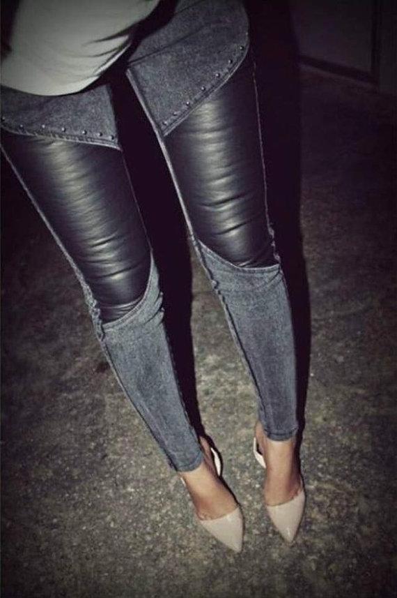 PreTTyGiRLs Leather and Denim Jeans/Jeggins by SHOPSWANKBOUTIQUE