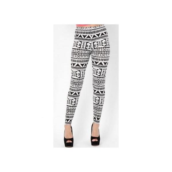Black and White Monochrome Aztec Print Leggings - Polyvore