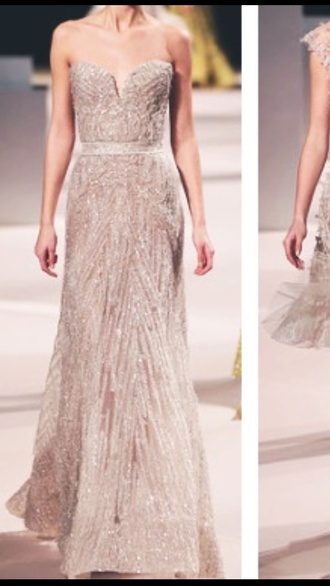 dress sequins beige diamonds runway long strapless sweatheart