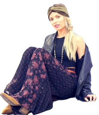 pants harem high waisted waist pattern colorful funny lounge