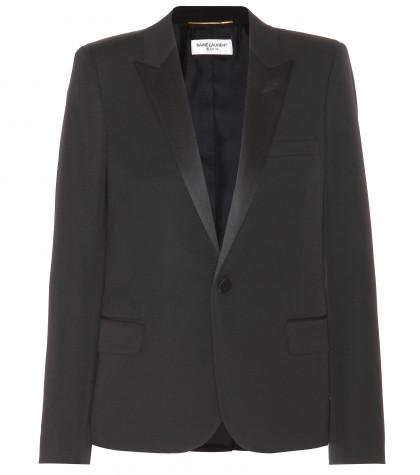 mytheresa.com -  Satin-trimmed wool blazer  - Blazers - Jackets - Clothing - Luxury Fashion for Women / Designer clothing, shoes, bags