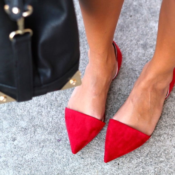 shoes red asymmetrical pointed flats flats