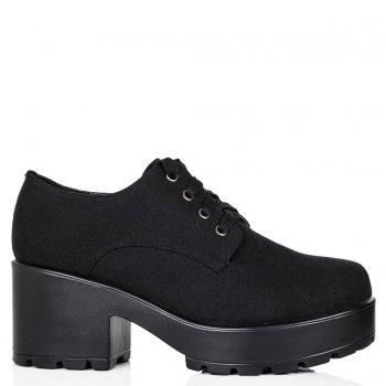 Buy TIGER Block Heel Lace Up Platform Ankle Boots Black Canvas Online