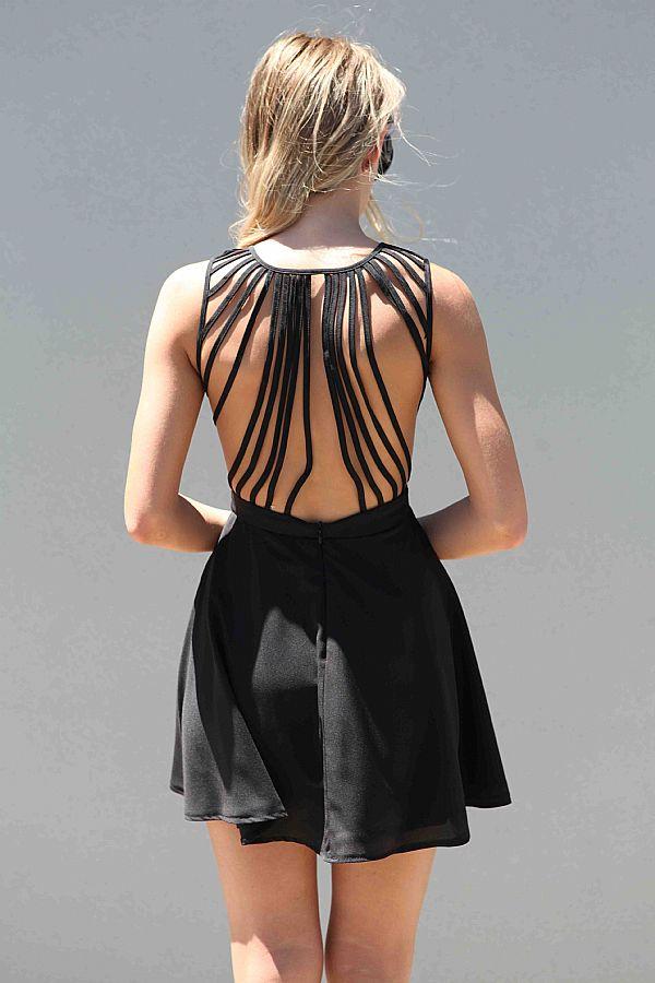 Black Little Black Dress - Black Sleeveless Dress with Lattice | UsTrendy
