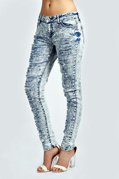 Maxine Bleach Wash Heavily Ripped Denim Jeans at boohoo.com