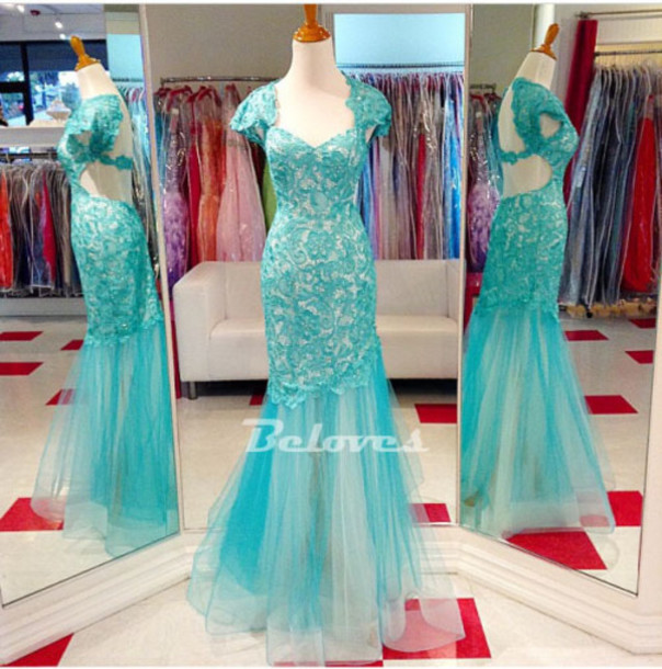dress teal lace fit gown flare cap sleeves gown