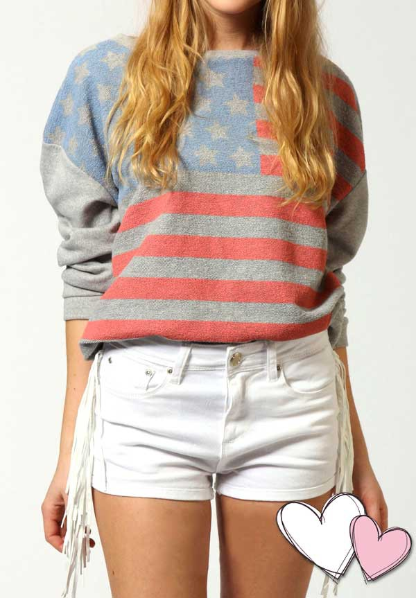 shorts stylemoi cute swag top american flag top fringe shorts summer outfits streetstyle teenagers