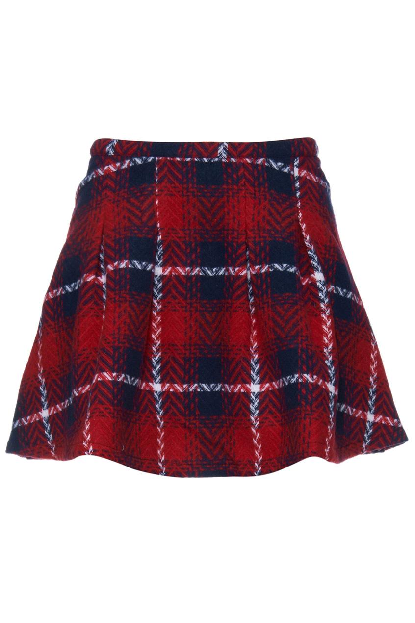 ROMWE | ROMWE Red Black Plaid Print Skater Skirt, The Latest Street Fashion